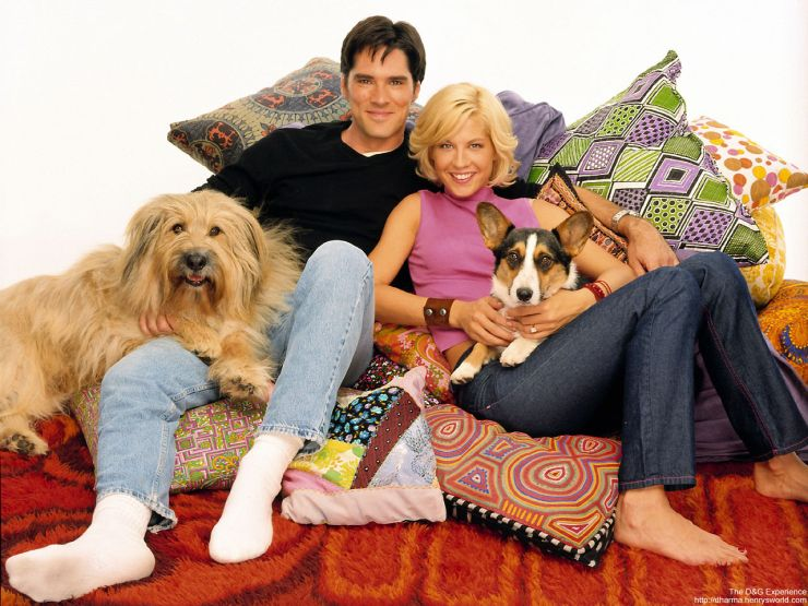 THOMAS GIBSON AND JENNA ELFMAN WITH STINKY AND NUNZIO