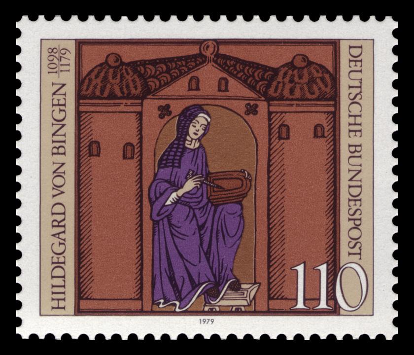 Специална марка, издадена в Германия по случай 850 дни от смъртта на Хилдегард от Бинген (1098-1179)