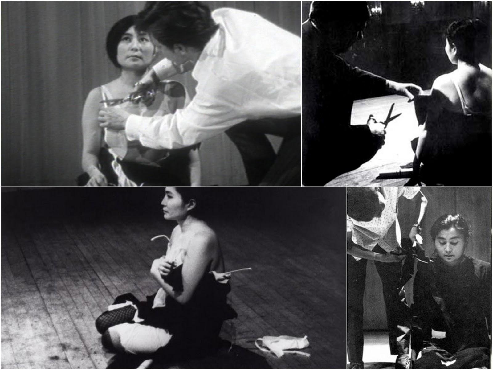 """Кадри от изпълнението на """"Cut piece"""" през 1967-1968 г."""